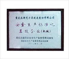派斯克刀具荣誉安全生产标准化三级企业
